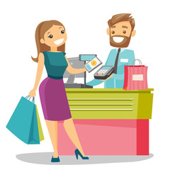 Young caucasian white woman paying wireless with her smartphone. Cashier accepting payment for purchase with a smartphone. Vector cartoon illustration isolated on white background. Square layout.