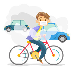 Young caucasian white man in gas mask riding a bicycle on the background of car with co2 emissions. Toxic air pollution concept. Vector cartoon illustration isolated on white background. Square layout