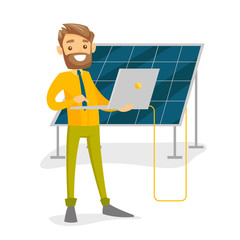 Caucasian white engineer of solar power plant working on a laptop on the background of solar panel. Renewable energy concept. Vector cartoon illustration isolated on white background. Square layout.