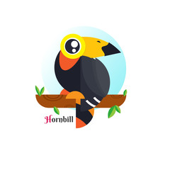 Toucan Bird vector illustration on white background. Hornbill. love. cartoon