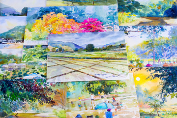 Watercolor paintings art work by a photography including memories.