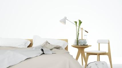 Artwork background interior bedroom space minimal japanese  3d rendering