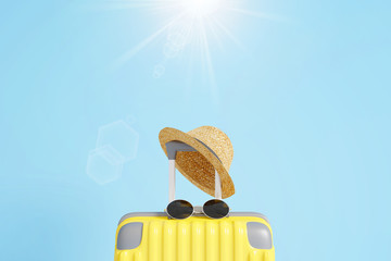 Wall Mural - Yellow suitcase with sun glasses and hat on blue sky  with sun light background. travel concept