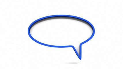 Blue dialog speech bubbles on white background. 3D rendering