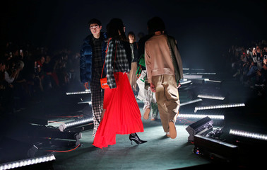 Models present creations of FREIKNOCK by designer Joohyung You from his Autumn/Winter 2018 collection during Fashion Week Tokyo in Tokyo