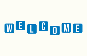 Welcome Colorful Square Letter Alphabet Greeting Card Word Sign Vector