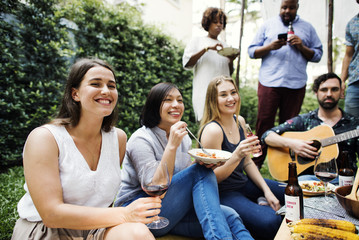 Group of people enjoying the music together