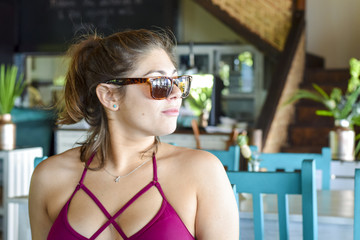 Beautiful woman in bathing suit