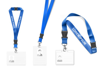 Set of lanyard with id card. Vector illustration isolated on white background. Ready template to use for for presentations, conferences, design. EPS10.