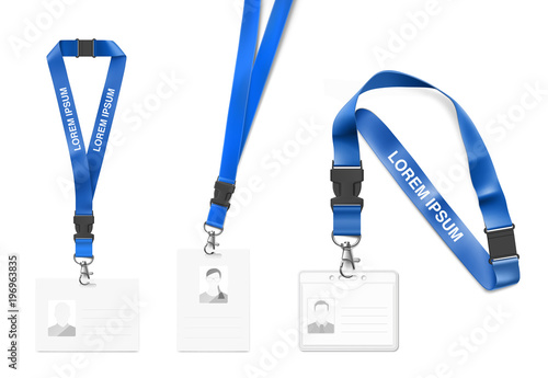 Set Of Lanyard With Id Card Vector Ilration Isolated On White Background Ready Template To Use For Presentations Conferences Design Eps10