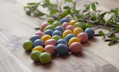 Pastel Colors Easter Eggs Wood Background