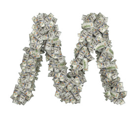 3d rendering of a large isolated letter M made of dollar banknotes on a white background.