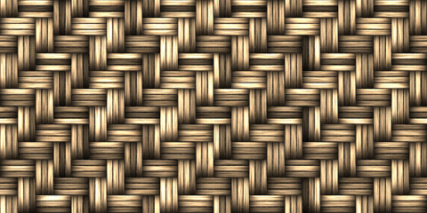 Seamless Basket Weaving Background. Woven Wicker Straw Texture.