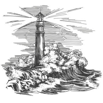 lighthouse lighthouse in the dark and sea landscape, storm hand drawn vector illustration realistic sketch