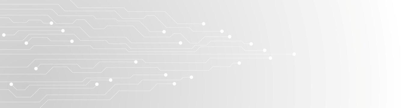 Tech grey futuristic circuit board abstract banner