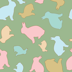 Bunny Seamless Background in Pastel Colors.