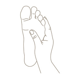 Female or male foot sole, barefoot, bottom view. Vector illustration, hand drawn cartoon style isolated on white, black and white contour