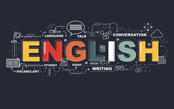 Design Concept Of Word ENGLISH Website Banner.