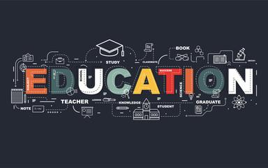 Design Concept Of Word EDUCATION Website Banner.