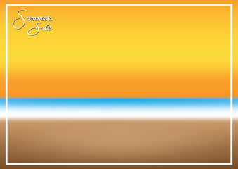 summer sale promotion season with sea beach and frame background vector illustration