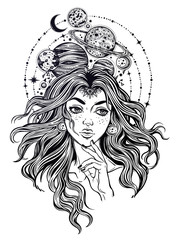 Portriat of the girl with curly hair, planets.