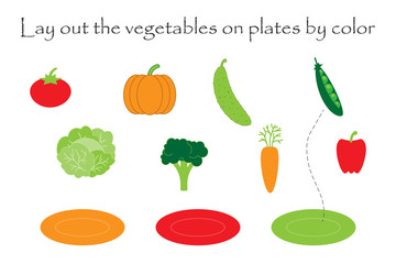 Lay out the vegetables  in cartoon style on plates by color for children, preschool worksheet activity for kids, task for the development of logical thinking, vector illustration