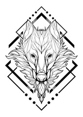 Wolf lined design tribal from branch decorative with basic Aztec graphic frame silhouette tattoo vector with white tattoo vector with white background