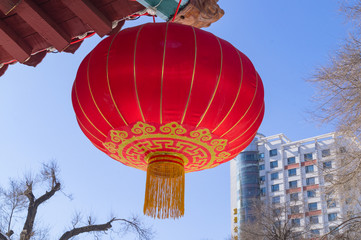 Red round Chinese traditional paper lantern lamp shades