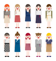 Korean girl characters wearing modern traditional costumes. vector flat design illustration set