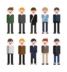 Korean boy characters wearing modern traditional costumes. vector flat design illustration set