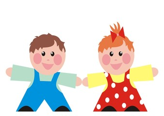 Baby boy and girl, happy kids, preschool age, vector icon, isolated illustration