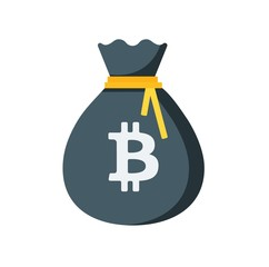 Full moneybag icon. Bitcoin Financial performance, income growth cryptocurrency. Money sign bag illustration.