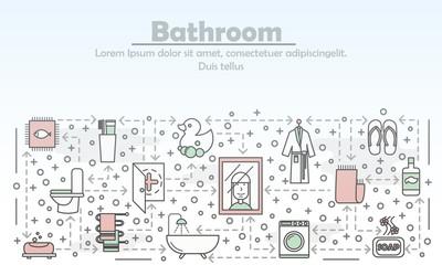 Bathroom advertising vector flat line art illustration