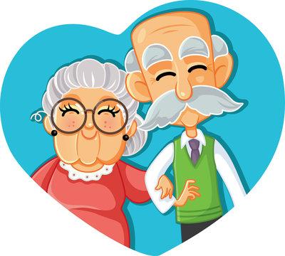 Senior Couple in Love Vector Cartoon Illustration