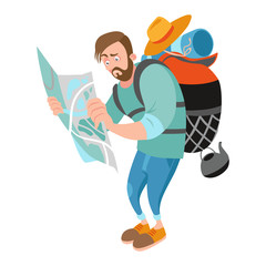 A lost guy holding a map. Vector illustration on white background.