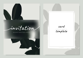 Invitation card template design, dark green Ficus Elastica leaf with blurred effect mask