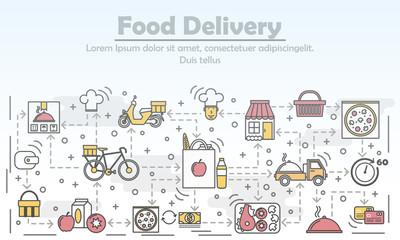 Food delivery advertising vector flat line art illustration