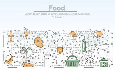 Food advertising vector flat line art illustration