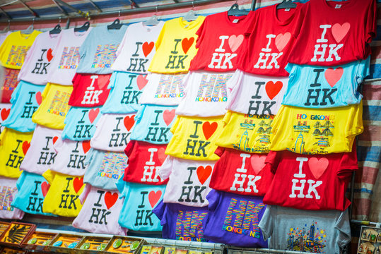 T-shirt in shop at Ladies market, one of the popular market