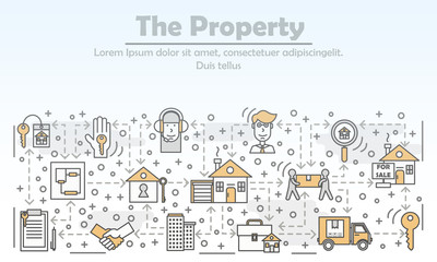 Property and real estate advertising vector flat line art illustration