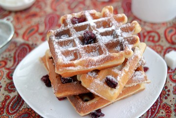 Sweet wafers with almond flour and dried cranberries