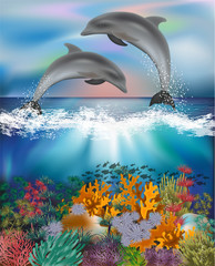 Tropical underwater background with Dolphins , vector illustration