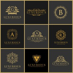 Luxury Letter Logo Set, Luxury Logos template flourishes calligraphic elegant ornament lines. Business sign, identity for Restaurant, Royalty, Boutique, Hotel, Heraldic, Jewelry, Fashion etc