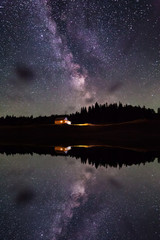 Reflection of the starry sky and cottage in the lake