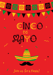 Colorful cinco de mayo party poster template. Festive red vector illustration with native culture sombrero, mustache and garland flags symbols for traditional Mexican celebration on cinco de mayo.
