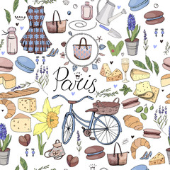 Seamless pattern made of different symbols related to France, travelling and Paris. Blue and yelllow color. Endless texture for fashion and travel design,elements on white