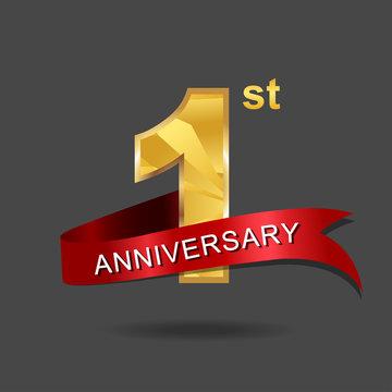 1st anniversary, aniversary, years anniversary celebration logotype. Logo,numbers and ribbon anniversary.