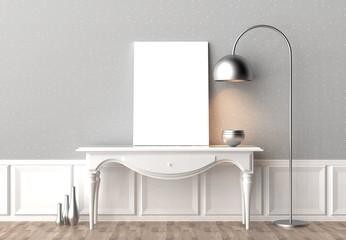 Mock up frame in hipster interior background. 3D illustrating.