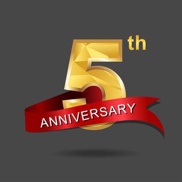 5th anniversary, aniversary, years anniversary celebration logotype. Logo,numbers and ribbon anniversary.