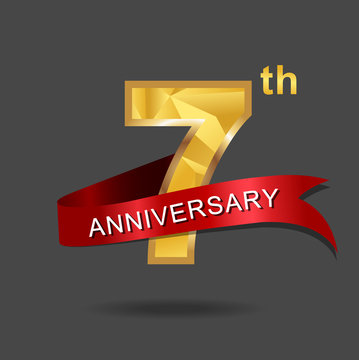 7th anniversary, aniversary, years anniversary celebration logotype. Logo,numbers and ribbon anniversary.